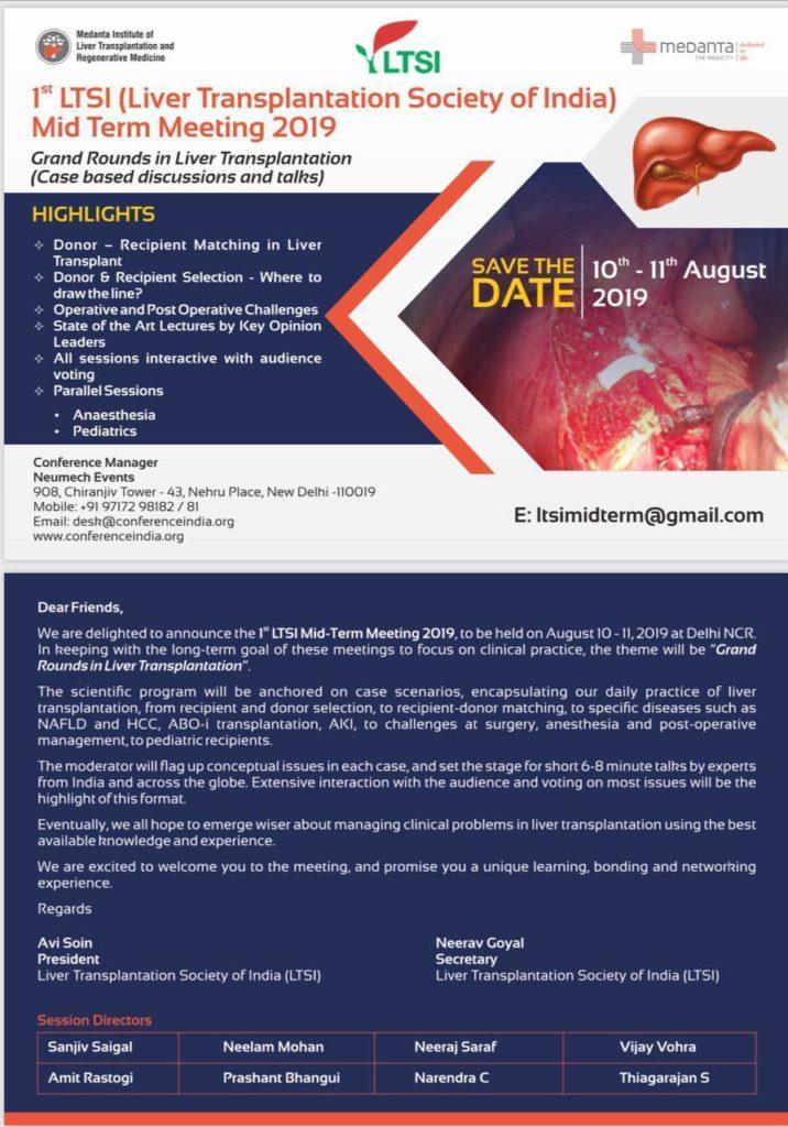 1st LTSI (Liver Transplant Society of India) Mid Term